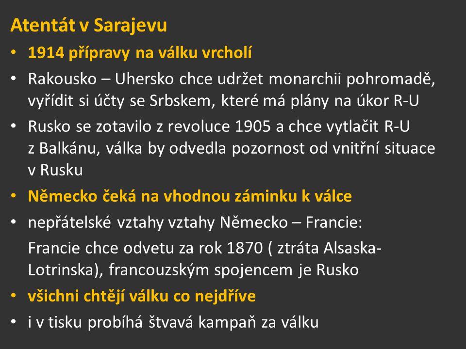 Atentát v Sarajevu 1914 přípravy na válku vrcholí