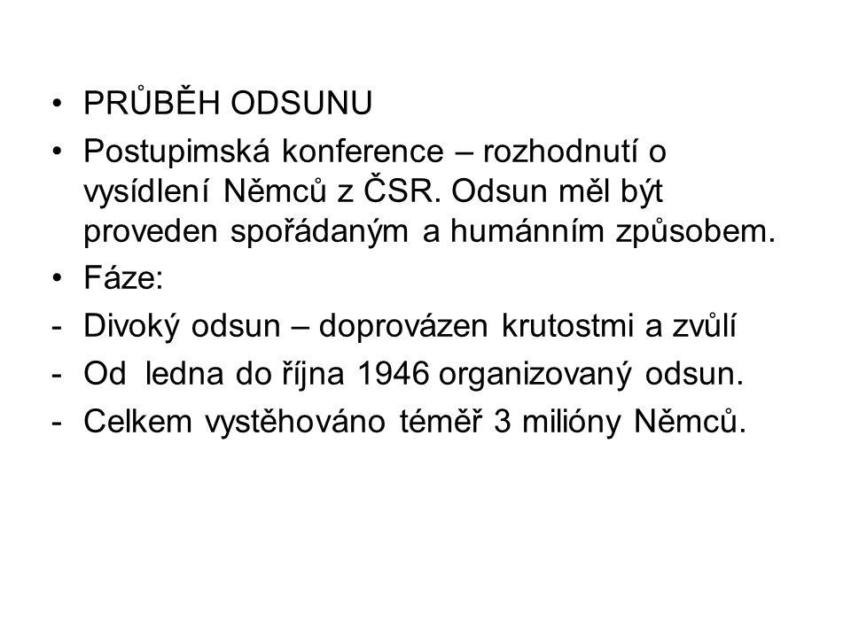 PRŮBĚH ODSUNU Postupimská konference – rozhodnutí o vysídlení Němců z ČSR. Odsun měl být proveden spořádaným a humánním způsobem.