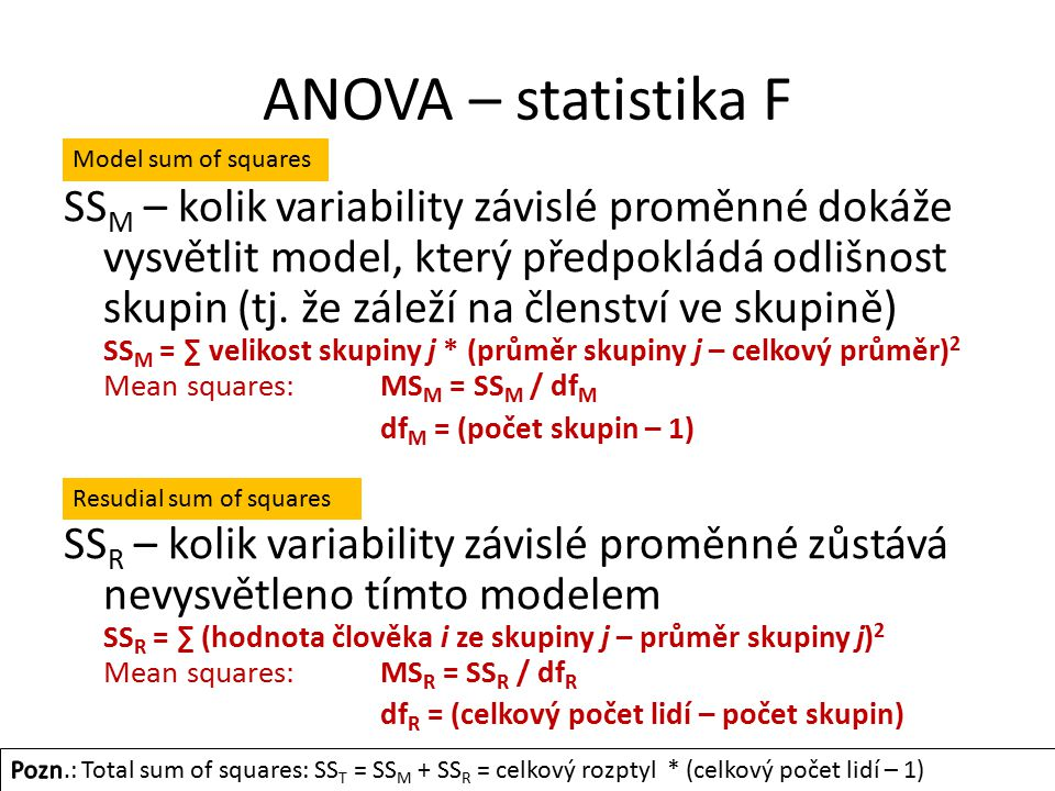 ANOVA – statistika F Model sum of squares.