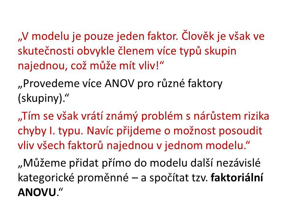 """""""V modelu je pouze jeden faktor"""