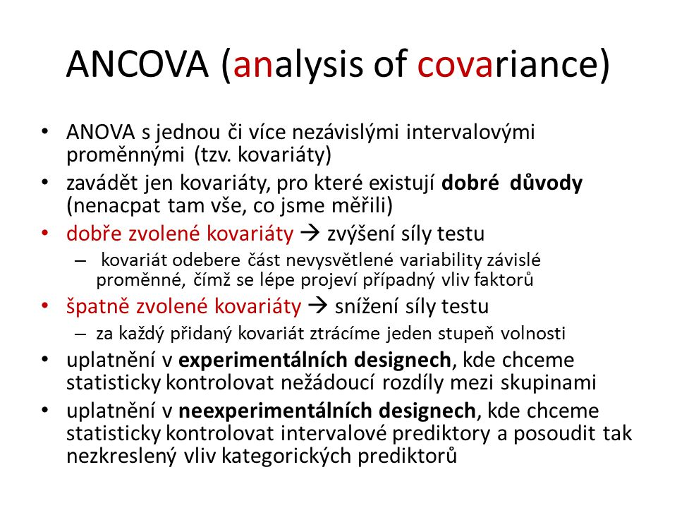 ANCOVA (analysis of covariance)