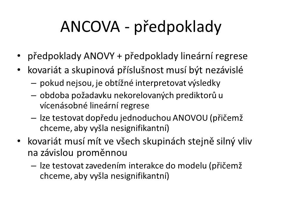 ANCOVA - předpoklady předpoklady ANOVY + předpoklady lineární regrese