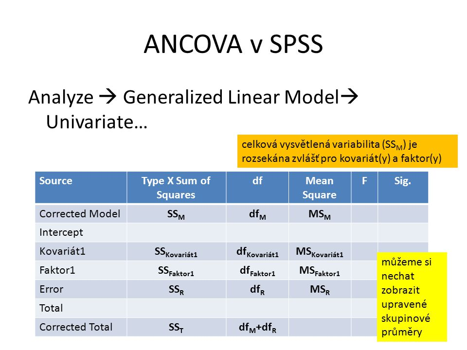 ANCOVA v SPSS Analyze  Generalized Linear Model Univariate…