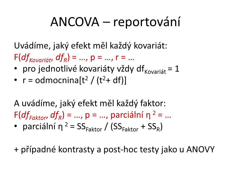 ANCOVA – reportování Uvádíme, jaký efekt měl každý kovariát: