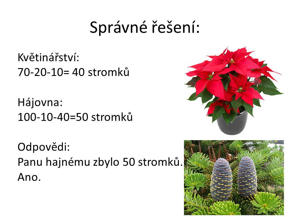 Správné řešení: Květinářství: 70-20-10= 40 stromků Hájovna: 100-10-40=50 stromků Odpovědi: Panu hajnému zbylo 50 stromků.