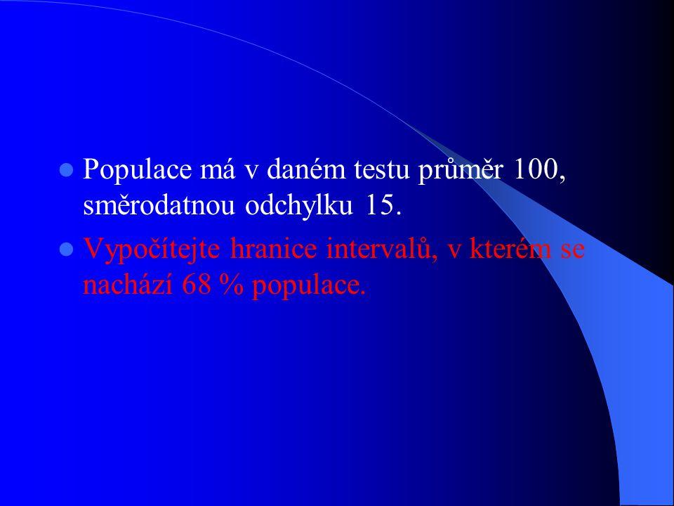 Populace má v daném testu průměr 100, směrodatnou odchylku 15.