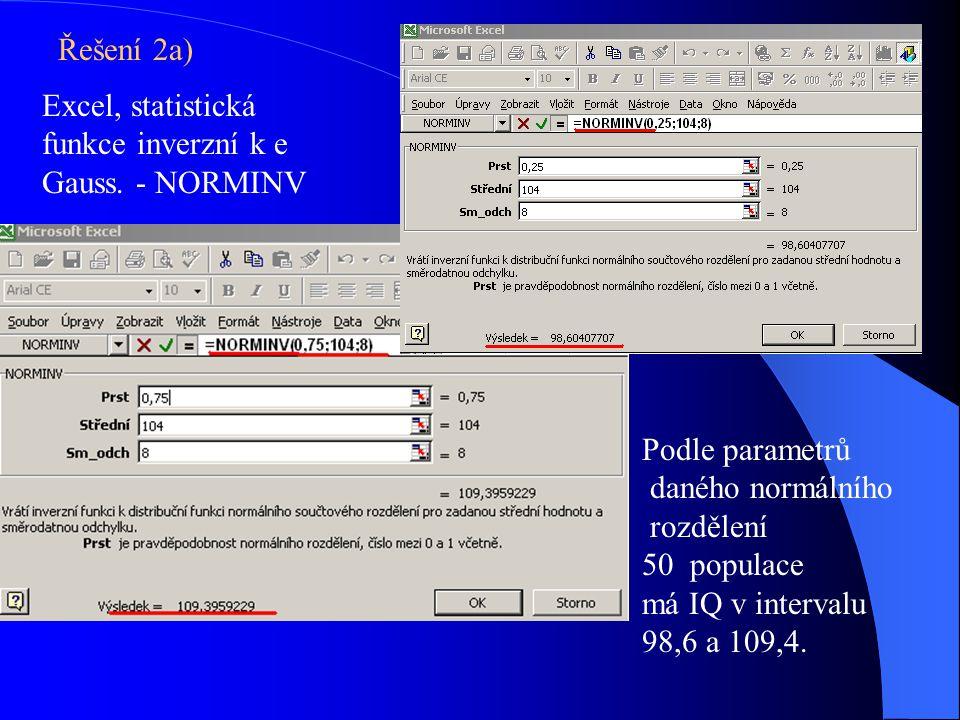 Řešení 2a) Excel, statistická funkce inverzní k e Gauss. - NORMINV. Podle parametrů. daného normálního.
