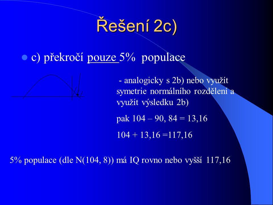 Řešení 2c) c) překročí pouze 5% populace