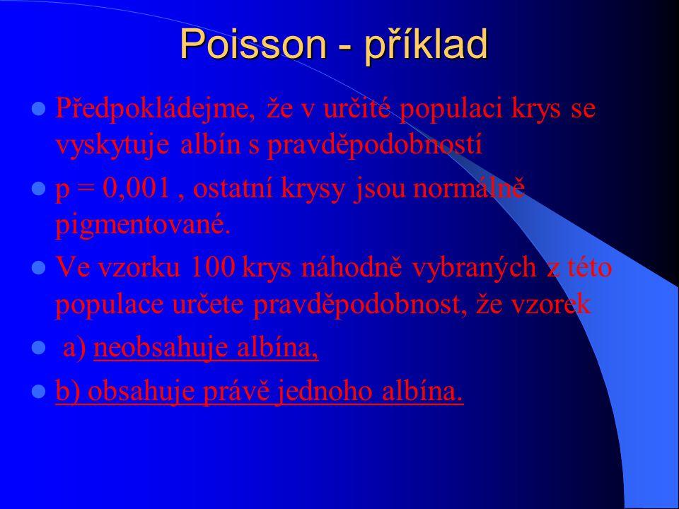 Poisson - příklad Předpokládejme, že v určité populaci krys se vyskytuje albín s pravděpodobností.