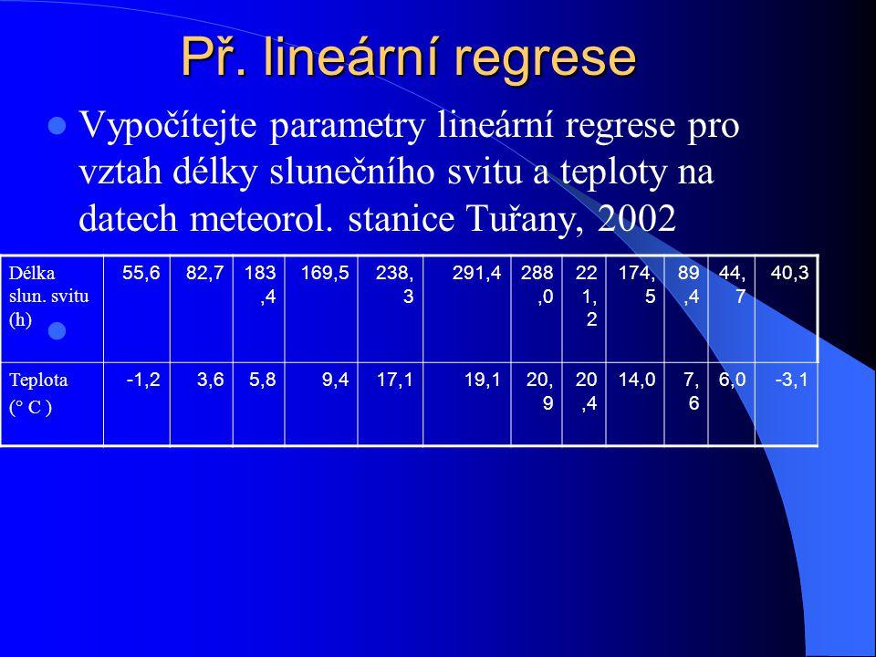 Př. lineární regrese Vypočítejte parametry lineární regrese pro vztah délky slunečního svitu a teploty na datech meteorol. stanice Tuřany, 2002.