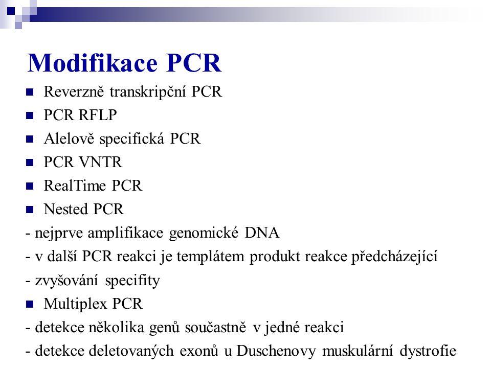 Modifikace PCR Reverzně transkripční PCR PCR RFLP
