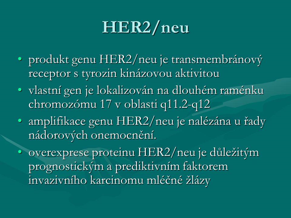 HER2/neu produkt genu HER2/neu je transmembránový receptor s tyrozin kinázovou aktivitou.