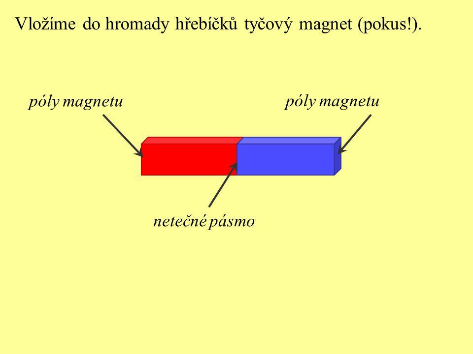 Vložíme do hromady hřebíčků tyčový magnet (pokus!).