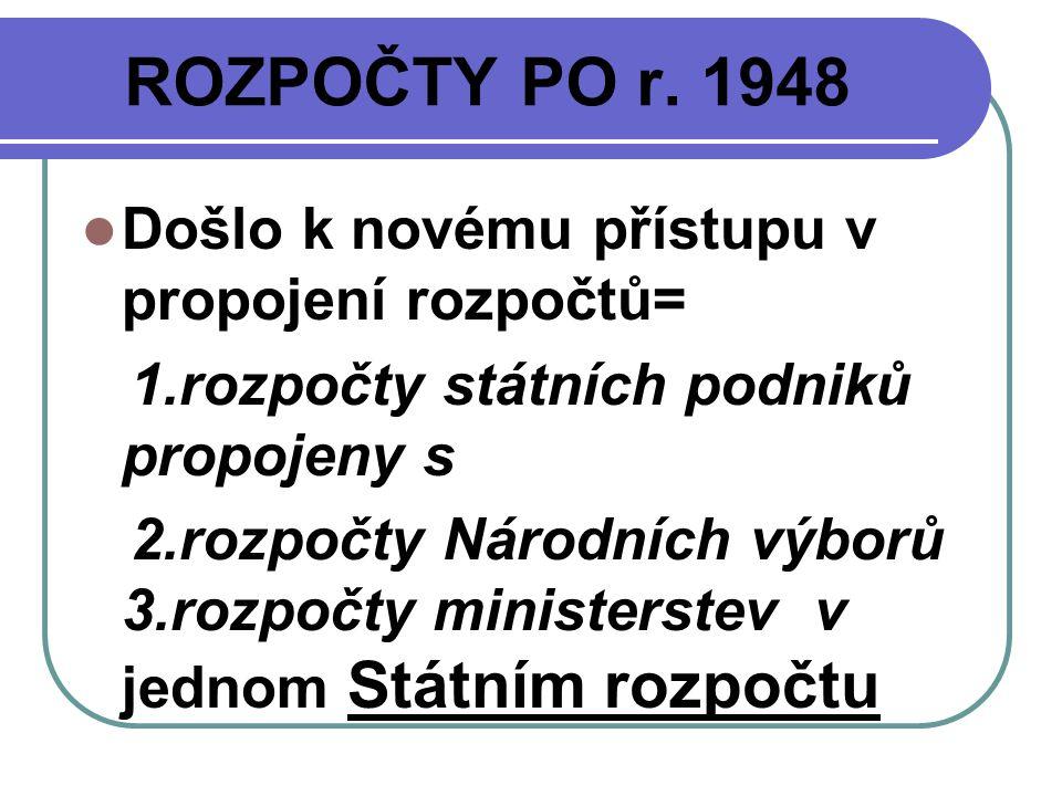 ROZPOČTY PO r. 1948 Došlo k novému přístupu v propojení rozpočtů=