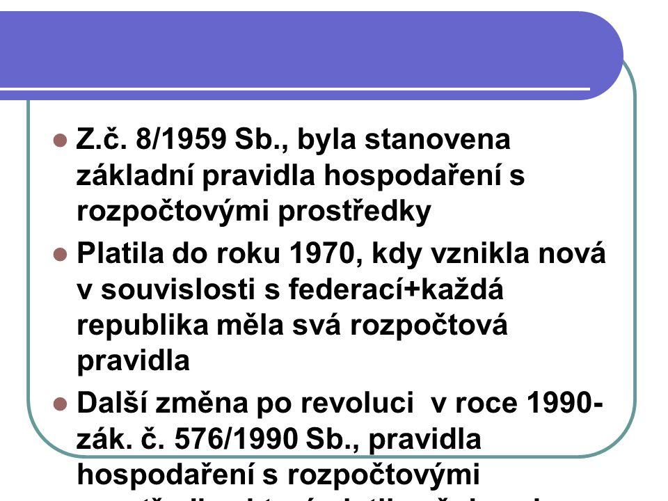 Z.č. 8/1959 Sb., byla stanovena základní pravidla hospodaření s rozpočtovými prostředky