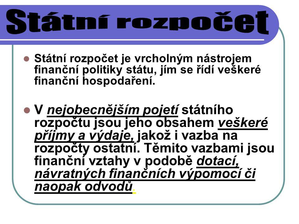 Státní rozpočet Státní rozpočet je vrcholným nástrojem finanční politiky státu, jím se řídí veškeré finanční hospodaření.