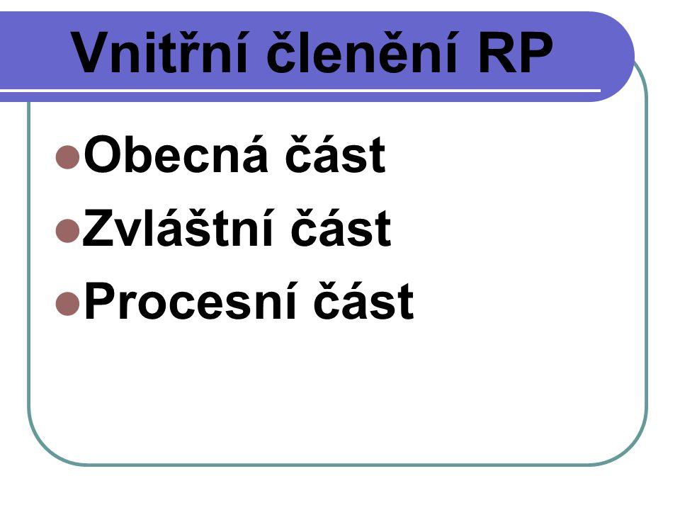 Vnitřní členění RP Obecná část Zvláštní část Procesní část