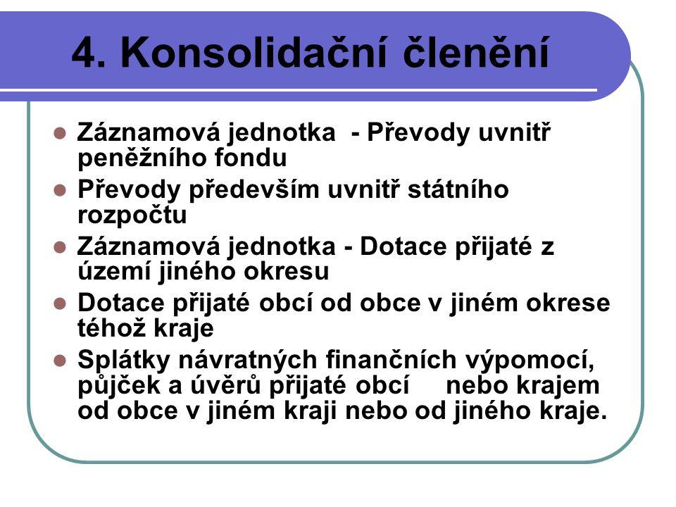 4. Konsolidační členění Záznamová jednotka - Převody uvnitř peněžního fondu. Převody především uvnitř státního rozpočtu.