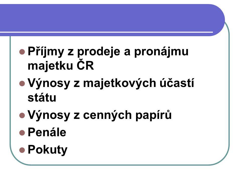 Příjmy z prodeje a pronájmu majetku ČR