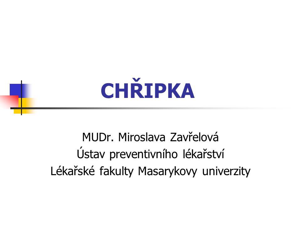 CHŘIPKA MUDr. Miroslava Zavřelová Ústav preventivního lékařství