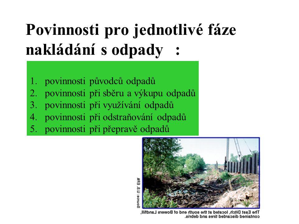 Povinnosti pro jednotlivé fáze nakládání s odpady :
