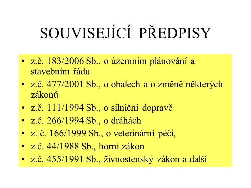 SOUVISEJÍCÍ PŘEDPISY z.č. 183/2006 Sb., o územním plánování a stavebním řádu. z.č. 477/2001 Sb., o obalech a o změně některých zákonů.