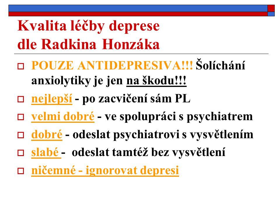Kvalita léčby deprese dle Radkina Honzáka