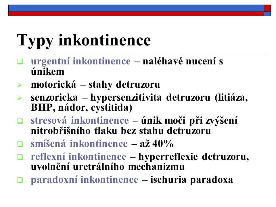 Typy inkontinence urgentní inkontinence – naléhavé nucení s únikem