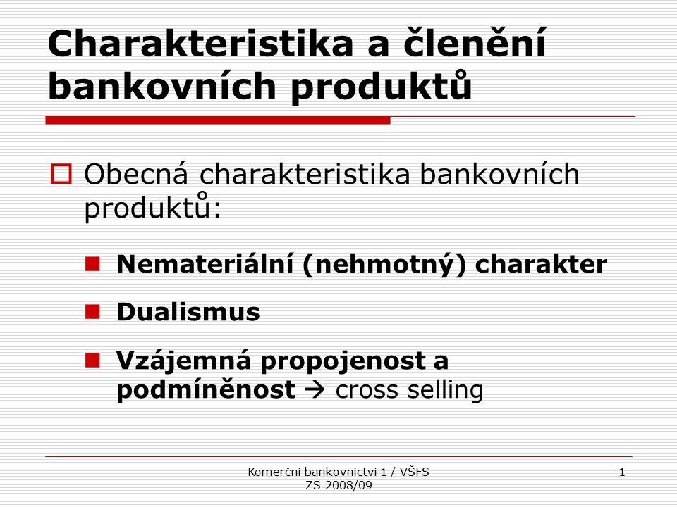 Charakteristika a členění bankovních produktů