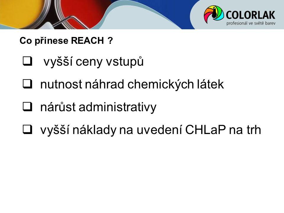 nutnost náhrad chemických látek nárůst administrativy