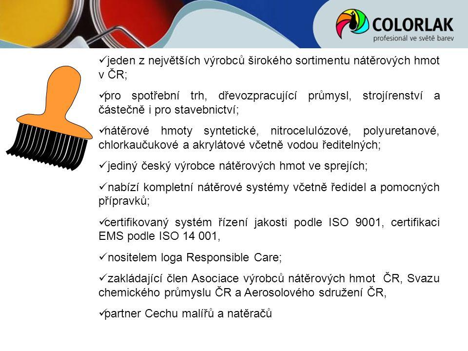 jeden z největších výrobců širokého sortimentu nátěrových hmot v ČR;