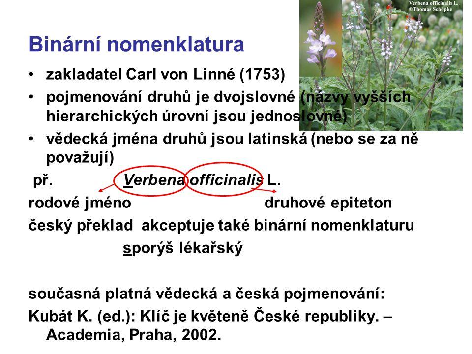 Binární nomenklatura zakladatel Carl von Linné (1753)