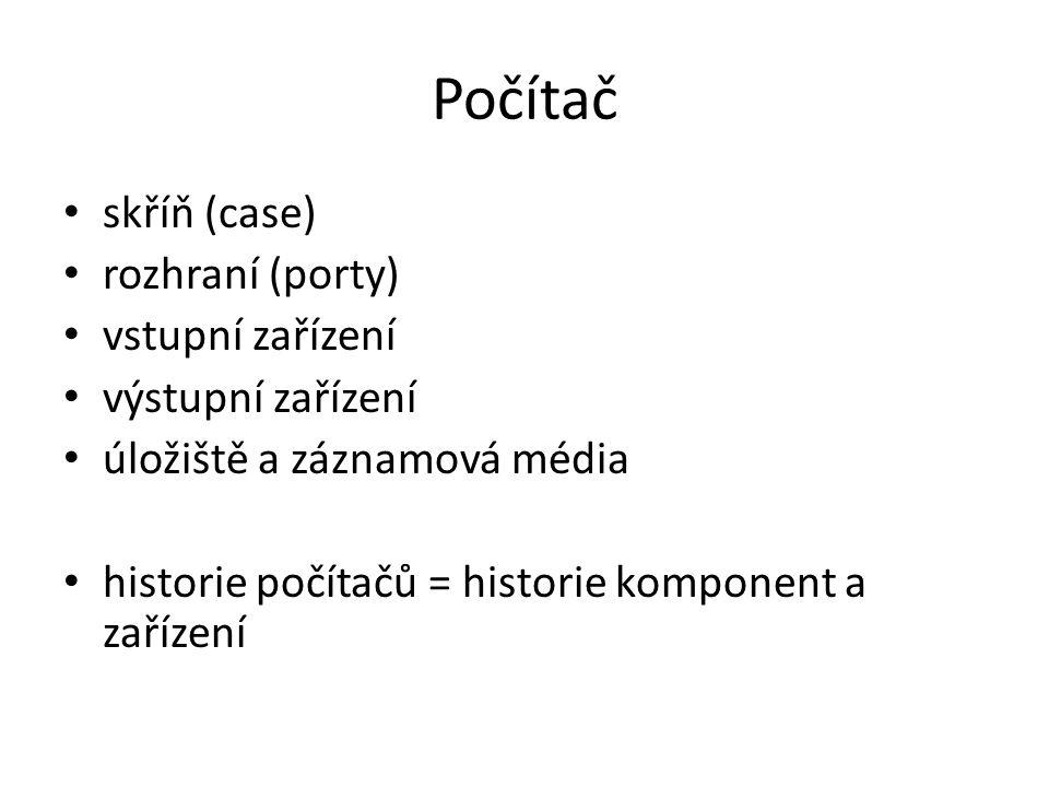 Počítač skříň (case) rozhraní (porty) vstupní zařízení