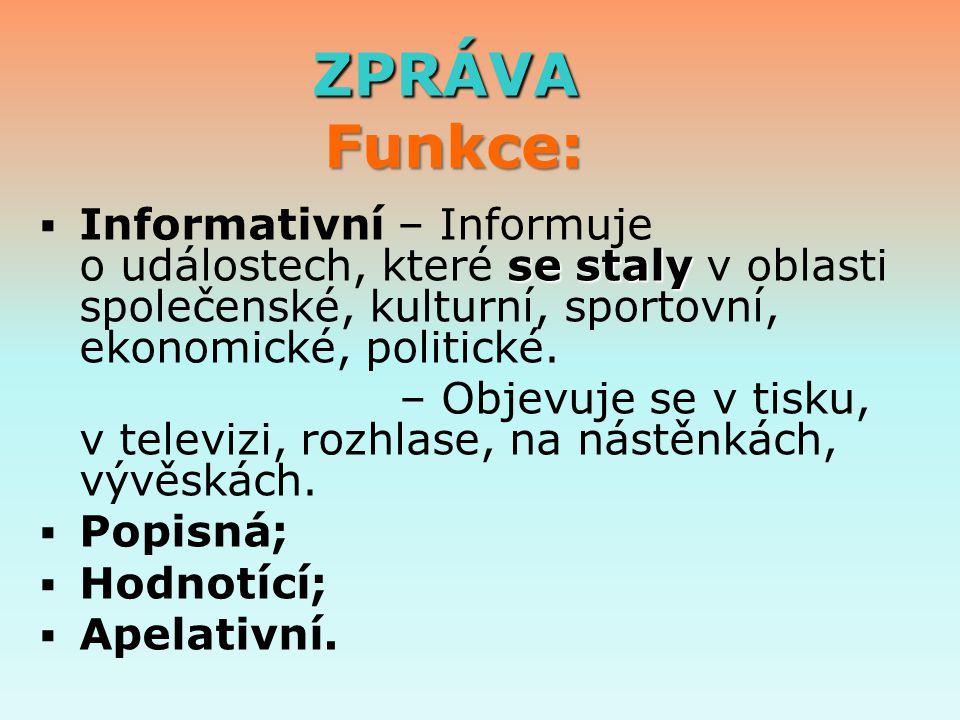 ZPRÁVA Funkce: Informativní – Informuje o událostech, které se staly v oblasti společenské, kulturní, sportovní, ekonomické, politické.