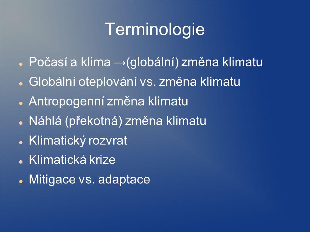Terminologie Počasí a klima →(globální) změna klimatu
