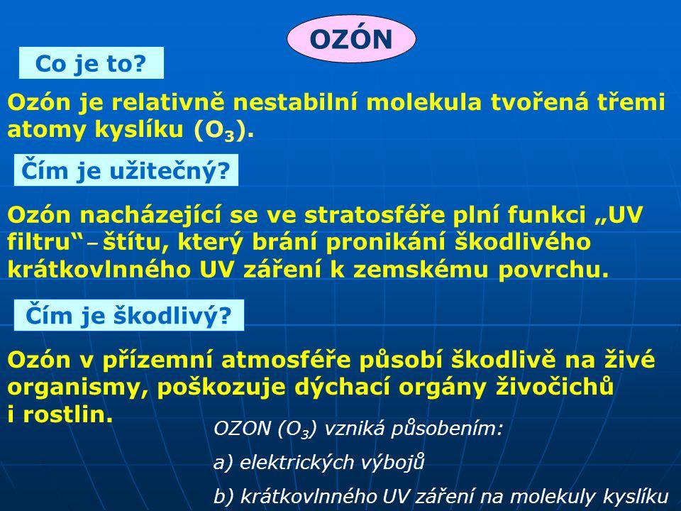 OZÓN Co je to Ozón je relativně nestabilní molekula tvořená třemi atomy kyslíku (O3). Čím je užitečný