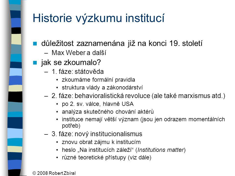 Historie výzkumu institucí