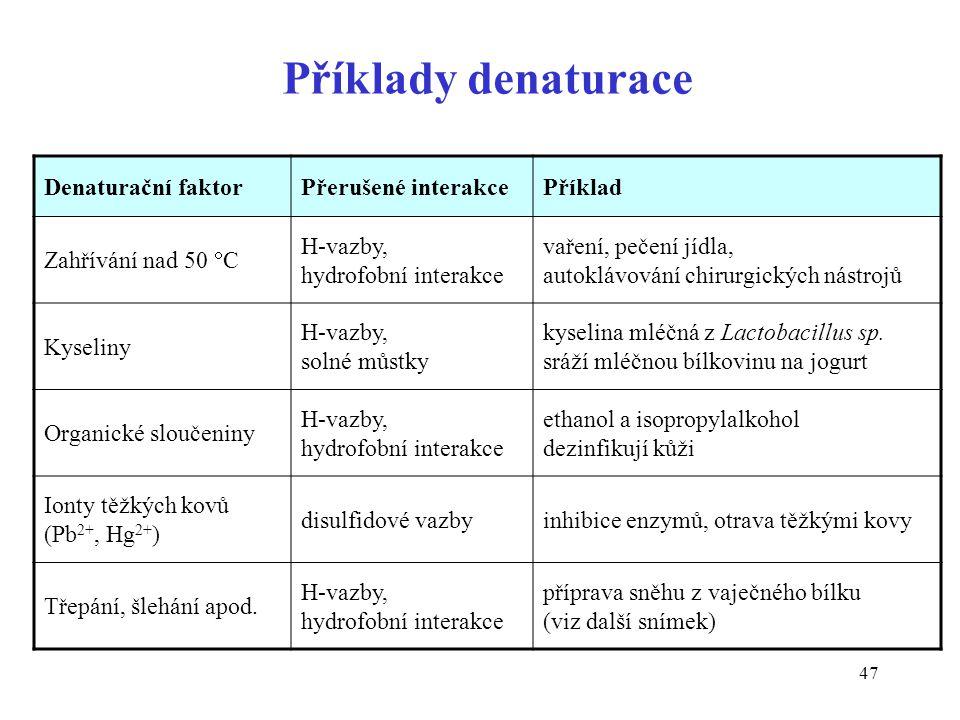 Příklady denaturace Denaturační faktor Přerušené interakce Příklad