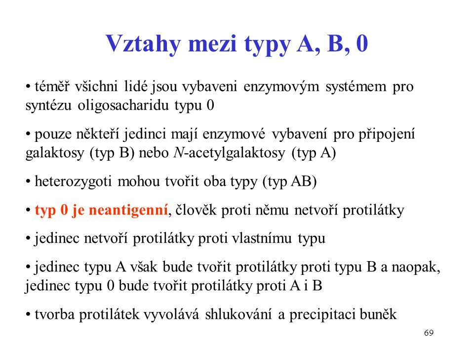 Vztahy mezi typy A, B, 0 téměř všichni lidé jsou vybaveni enzymovým systémem pro syntézu oligosacharidu typu 0.