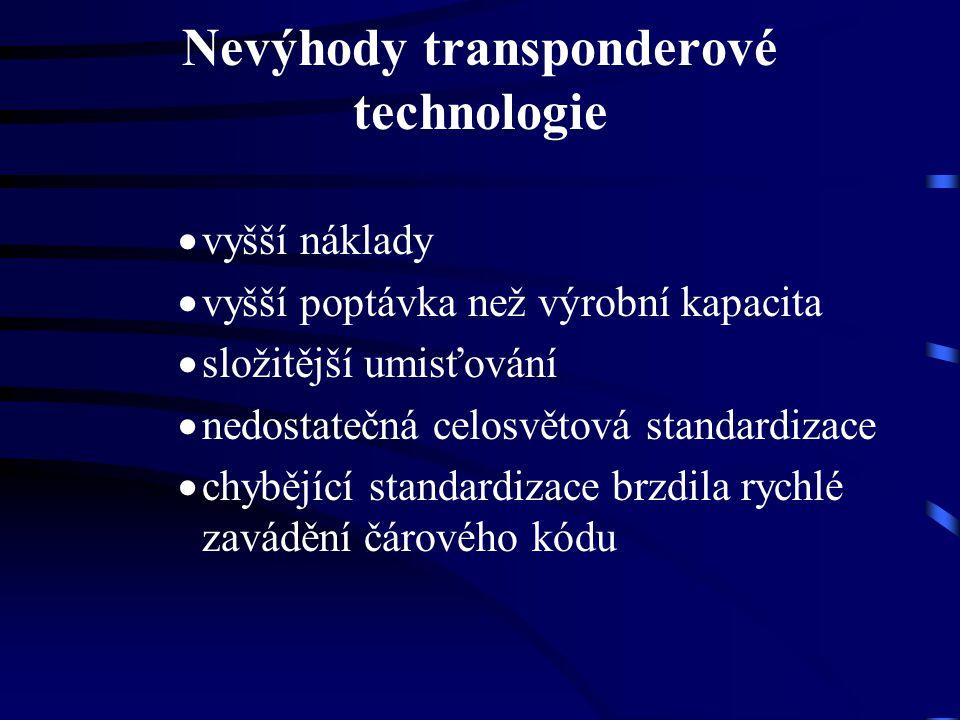 Nevýhody transponderové technologie