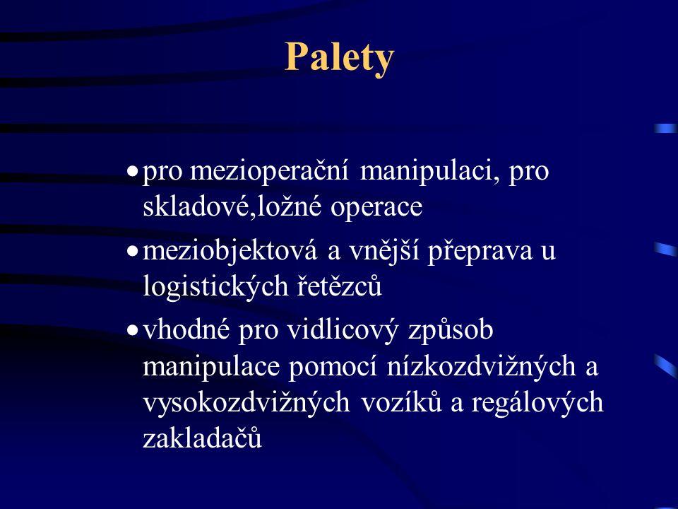 Palety pro mezioperační manipulaci, pro skladové,ložné operace