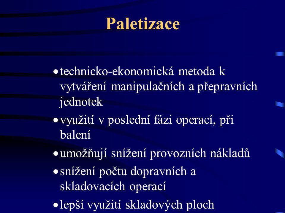 Paletizace technicko-ekonomická metoda k vytváření manipulačních a přepravních jednotek. využití v poslední fázi operací, při balení.