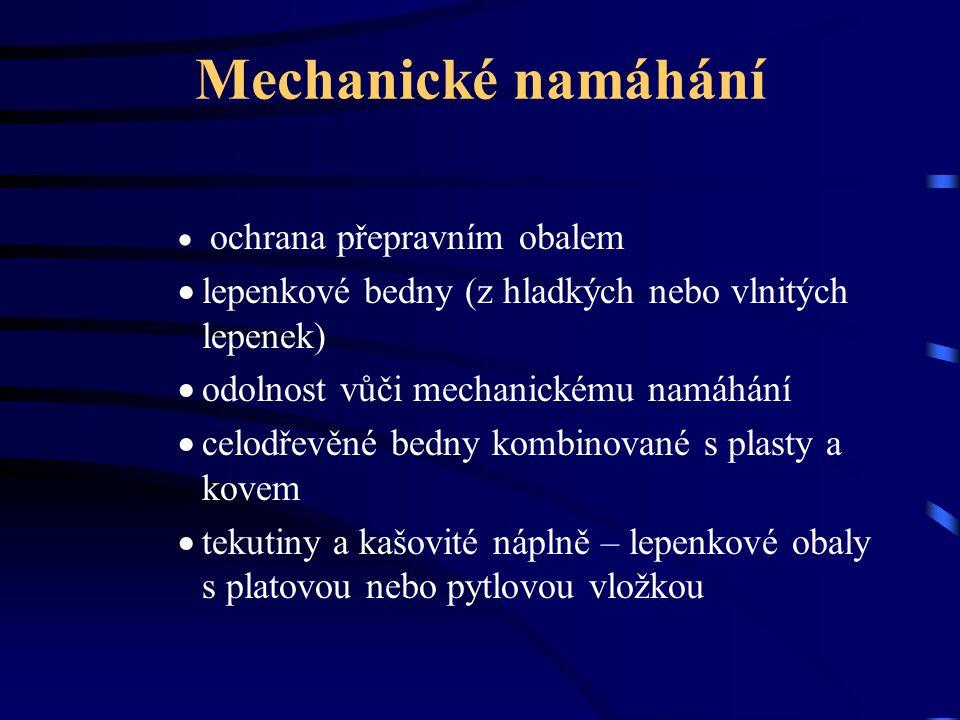 Mechanické namáhání lepenkové bedny (z hladkých nebo vlnitých lepenek)