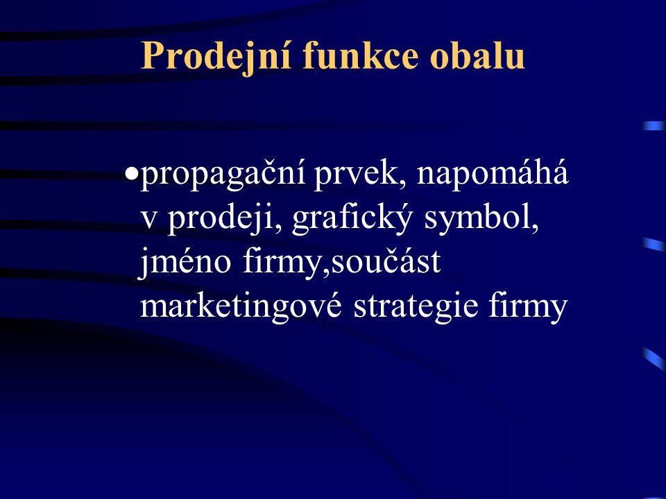 Prodejní funkce obalu propagační prvek, napomáhá v prodeji, grafický symbol, jméno firmy,součást marketingové strategie firmy.