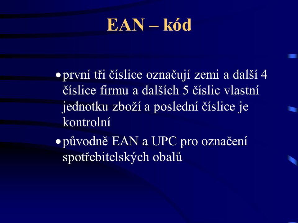EAN – kód první tři číslice označují zemi a další 4 číslice firmu a dalších 5 číslic vlastní jednotku zboží a poslední číslice je kontrolní.