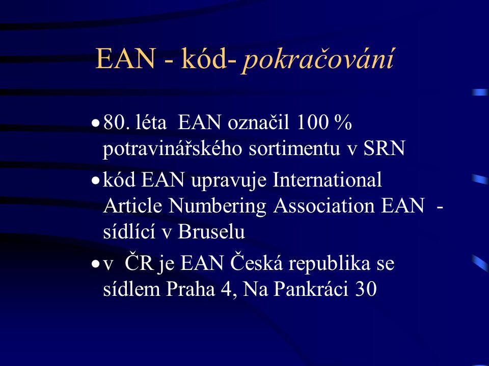 EAN - kód- pokračování 80. léta EAN označil 100 % potravinářského sortimentu v SRN.
