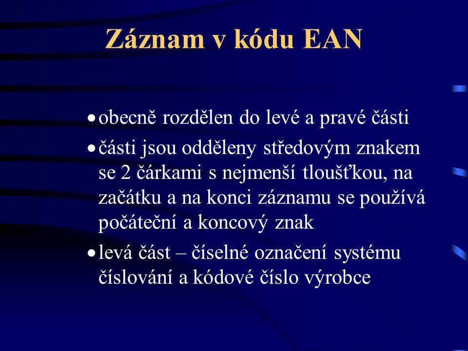 Záznam v kódu EAN obecně rozdělen do levé a pravé části