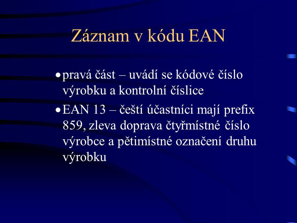 Záznam v kódu EAN pravá část – uvádí se kódové číslo výrobku a kontrolní číslice.