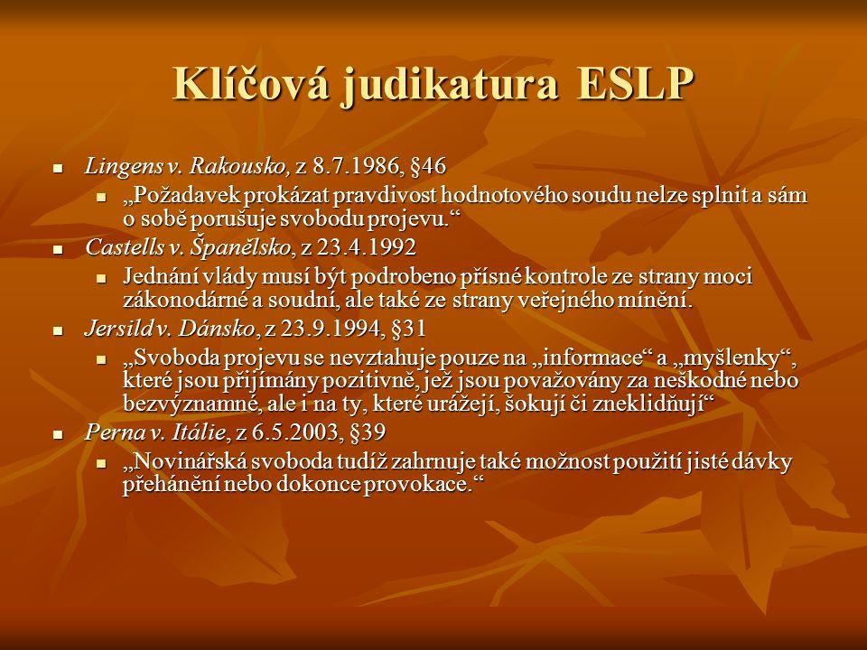 Klíčová judikatura ESLP