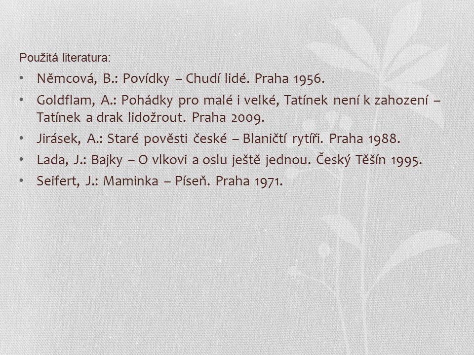 Němcová, B.: Povídky – Chudí lidé. Praha 1956.